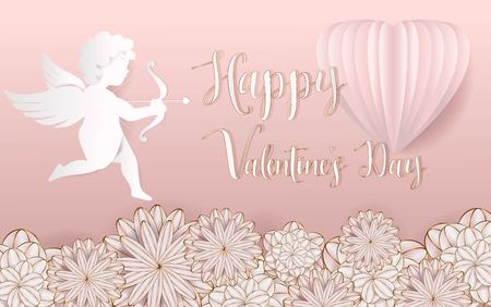 Pink rose of love you for valentine vector