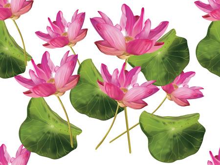 Lotus flower pink color seamless pattern