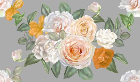 Rose white and yellow seamless pattern Ilustracja