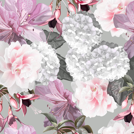 Floral seamless pattern withfunchsia,hydrangea,azalea vector illustration