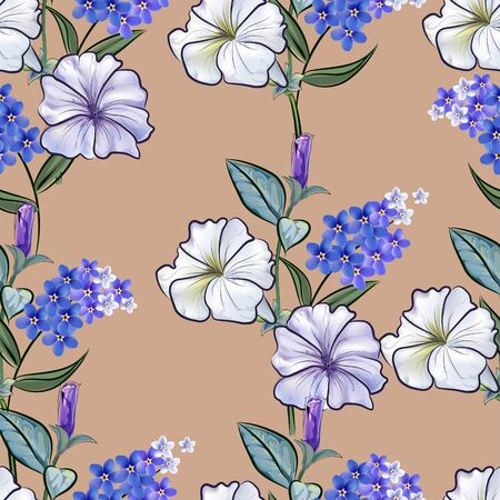 Petunia and for get me not flower seamless pattern-vector