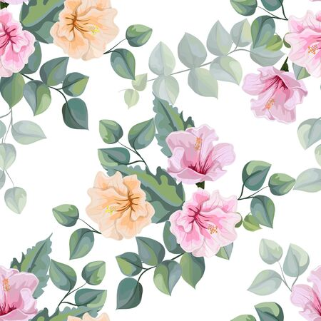 Hibiscus flower and Tropical leaves seamless pattern vector illustration