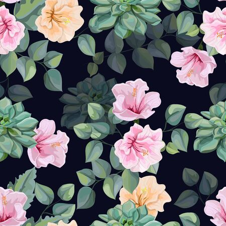 Hibiscus flower,Succulents  and Tropical leaves seamless pattern vector illustration Illustration