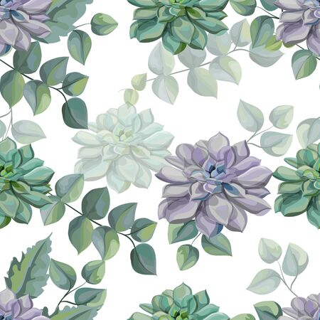 Succulents  and Tropical leaves seamless pattern vector illustration  イラスト・ベクター素材