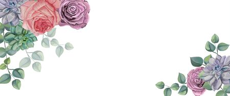 Roses, Succulents  and Tropical leaves  vector illustration