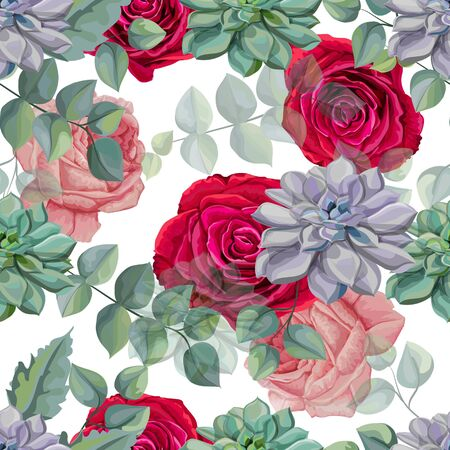 Roses , Succulents  and Tropical leaves seamless pattern vector illustration