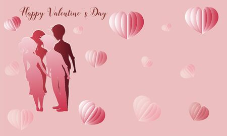 Happy valentine's day with lover and  heart shape in paper cut style-vector  イラスト・ベクター素材