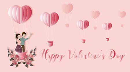 Happy valentine's day with lover with pink rose on heart shape balloon in paper  cut style - vector  イラスト・ベクター素材