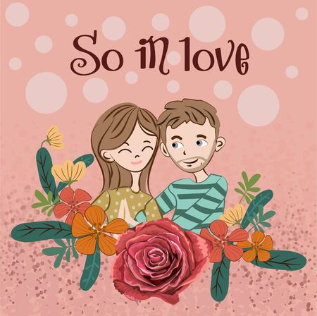 Happy valentine's day with lover with flower with so in love text- vector