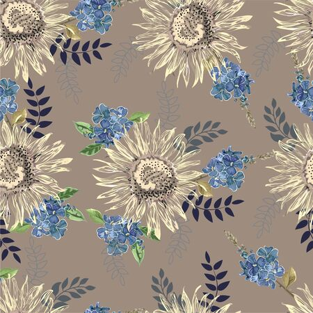 Sunflower and violet flowers  seamless pattern vector illustration  イラスト・ベクター素材