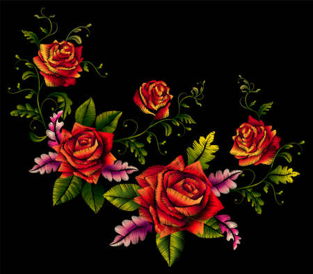 Red roses beautiful bouquet embroidery element for design-vector.