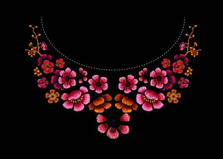 Flower Pattern Embroidery Design of Chinese plum blossom for neckline. Floral design for fashion blouses and t-shirts. Vector illustration.