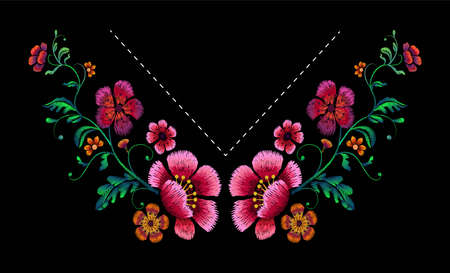 Flower   Embroidery Design for neckline. Floral design for fashion blouses and t-shirts. Vector illustration.