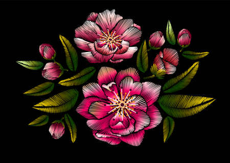 Flower embroidery with cherry blossom on black background vector illustration