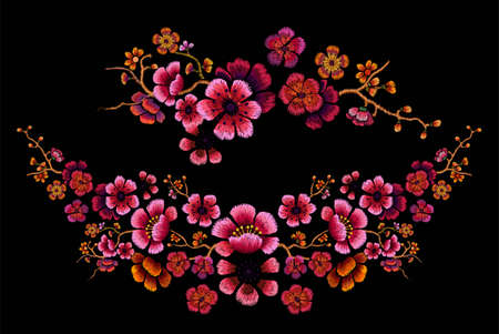 Flower Design Embroidery of Chinese plum blossom vector illustration