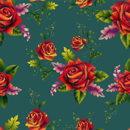 Red roses beautiful bouquet embroidery seamless pattern-vector. Archivio Fotografico