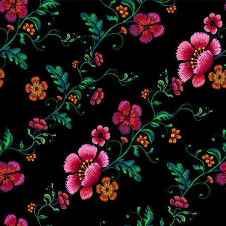 Flower Design Embroidery seamless pattern vector illustration