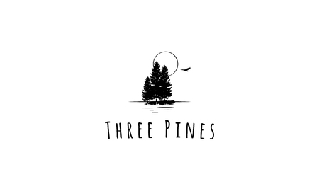 The logo shows three pines near the lake under the moonlight.
