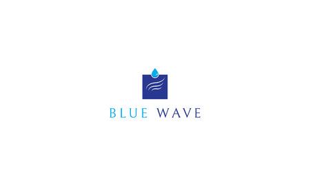 Blue wave vector logo image