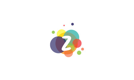 Bright and colorful image of the letter Z, against the background of multicolored circles.