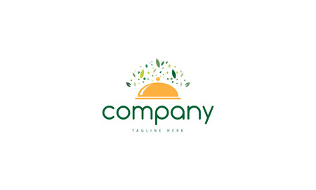 Natural Food.Vector logo which depicts a tray with a lot of leaves around it.