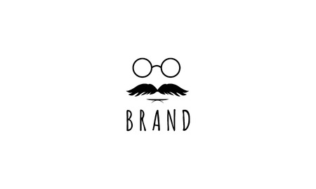 Vector image on which the abstract image of the silhouette of a man with a mustache and glasses.