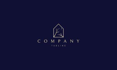 Huis boom maan ster vector gouden logo ontwerp Logo