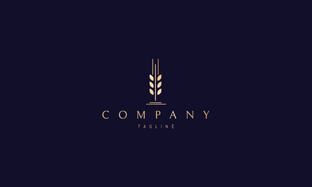 Wheat Spike Abstract Gold vector logo design
