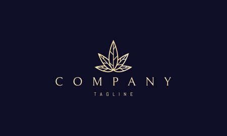 Vector golden logo on which an abstract image of veined cannabis leaves.  イラスト・ベクター素材