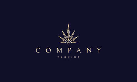 Vector golden logo in which an abstract image of sharp cannabis leaves with veins and a diamond at the bottom. Ilustração