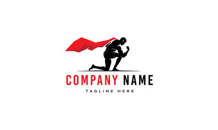Vector logo on which an abstract image of a super hero with a red cloak who kneeled. Stock Illustratie