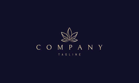 Vector golden logo on which an abstract image of cannabis leaves in the form of seashells.