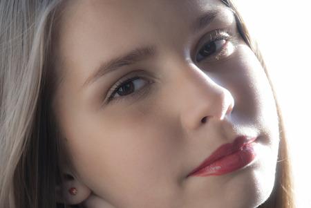 ladylike: Portrait close up of young beautiful teenage girl