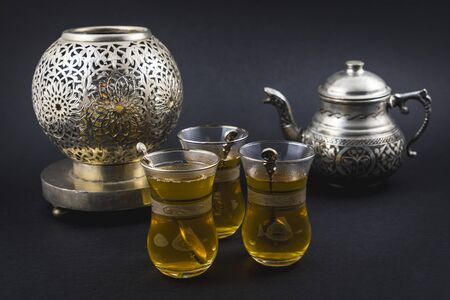 Moorish tea served in Turkish cups and glasses