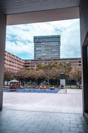 San Sebastian, Gipuzkoa / Spain ?; April 30, 2020: Social distance, empty children's parks in the city of San Sebatian, in the Atotxa tower