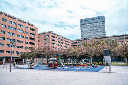 San Sebastian, Gipuzkoa / Spain ?; April 30, 2020: Social distance, empty children's parks in the city of San Sebatian, in the Egian neighborhood