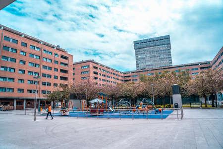 San Sebastian, Gipuzkoa / Spain ?; April 30, 2020: Social distance, empty children's parks in the city of San Sebatian
