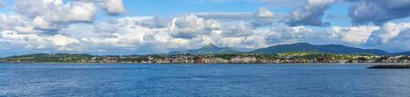 Panoramic view of the French town of Hendaye from the beautiful beach of Fuenterrabia, Gipuzkoa. Basque Country