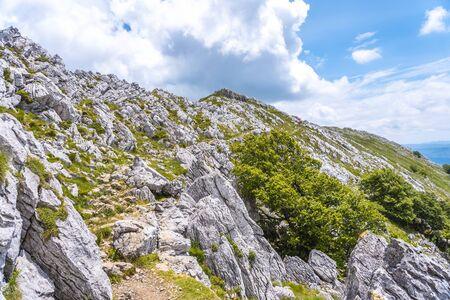 Mount Aizkorri 1523 meters, the highest in Guipúzcoa. Basque Country. Ascent through San Adrián and return through the Oltza fields. Difficult climb to the top of Mount Aizkorri
