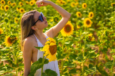 A blonde Caucasian woman with sunglasses and a white dress in a beautiful field of sunflowers on a summer afternoon, rural lifestyle. Navarra, Spain. Smiling next to the flowers Stock Photo
