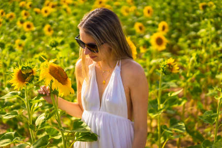 A blonde Caucasian woman with sunglasses and a white dress in a beautiful field of sunflowers on a summer afternoon, rural lifestyle. Navarra, Spain