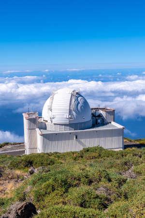 Beautiful giant telescope on the Roque de los Muchachos at the top of the Caldera de Taburiente, La Palma, Canary Islands. Spain