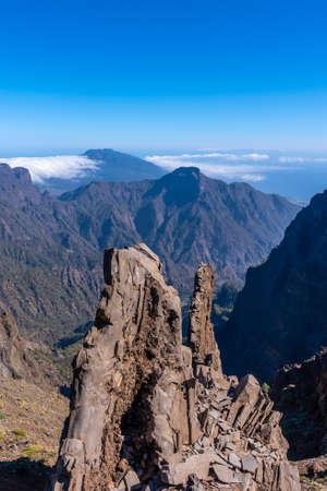 Panoramic view from the Roque de los Muchachos on top of the Caldera de Taburiente, La Palma, Canary Islands. Spain