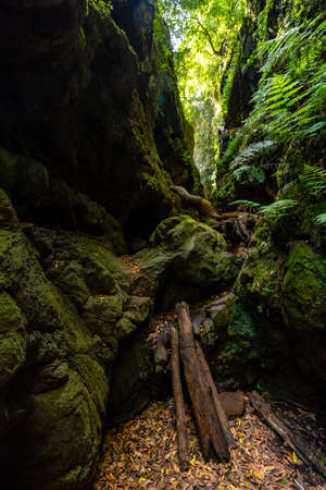 Strange access to enter the canyon of the natural park of Los Tinos on the northeast coast on the island of La Palma, Canary Islands. Spain