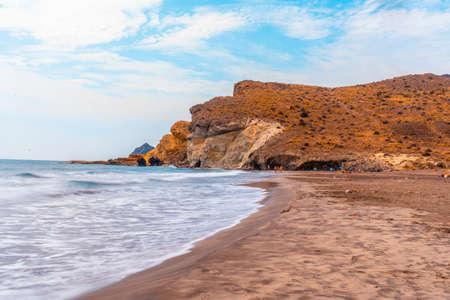 Cala de la media luna one summer afternoon in the natural park of Cabo de Gata, Nijar, Andalucia. Spain, Mediterranean Sea