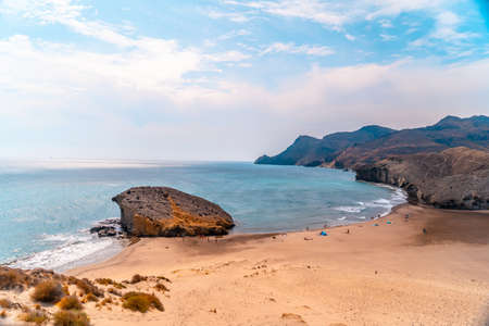Panoramic view from above of the dune at Playa de Mónsul in the natural park of Cabo de Gata, Nijar, Andalucia. Spain, Mediterranean Sea