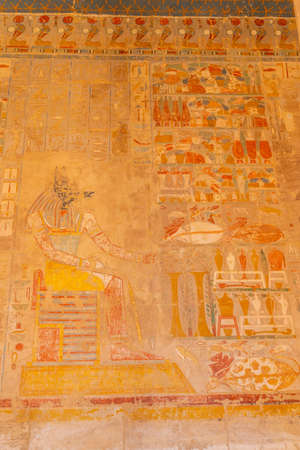 Egyptian drawings in the Mortuary Temple of Hatshepsut in Luxor. Egypt
