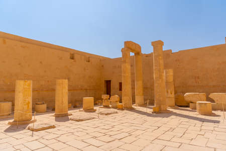 Columns of the Mortuary Temple of Hatshepsut in Luxor. Egypt Banco de Imagens