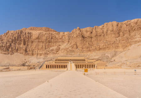 Hatshepsut's Funerary Temple in Luxor without people on the return of Tourism to Egypt after the coronavirua pandemic