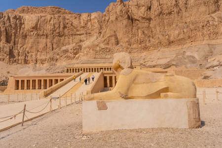 Sculpture at the Mortuary Temple of Hatshepsut in Luxor, Egypt Banco de Imagens